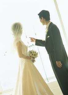 向い合う花嫁と花婿の写真素材 [FYI02063727]