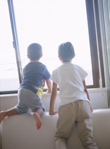 外を眺める子供2人後姿の写真素材 [FYI02065386]