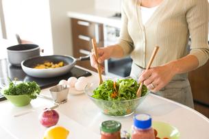 サラダを作る女性の手元の写真素材 [FYI02065871]