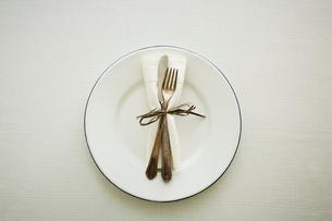 皿の上のカトラリーの写真素材 [FYI02066575]