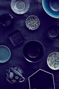 青い食器の集合の写真素材 [FYI02066750]
