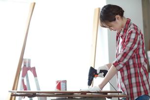 DIYを楽しむ女性の写真素材 [FYI02066789]