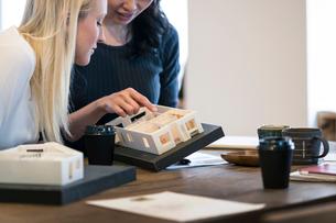 建築模型を使ってミーティングをする外国人と日本人の写真素材 [FYI02067397]