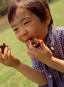 公園でドーナツを食べる男の子の写真素材 [FYI02067538]