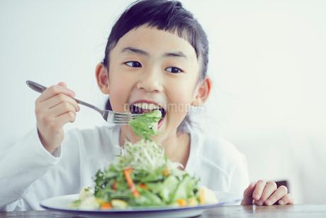サラダを食べる女の子の写真素材 [FYI02068077]