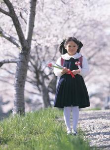 桜の木と新入学の女の子の写真素材 [FYI02068121]
