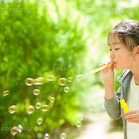 シャボン玉で遊ぶ女の子の写真素材 [FYI02068592]
