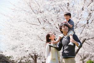 息子を肩車する父親と寄り添う母親の写真素材 [FYI02069130]