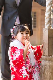 お参りをする七五三和装の女の子の写真素材 [FYI02069192]