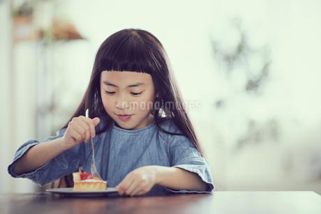 タルトを食べる女の子の写真素材 [FYI02069258]