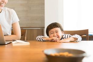笑顔の男の子と母親の写真素材 [FYI02069297]