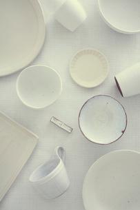 白い食器の集合の写真素材 [FYI02069428]