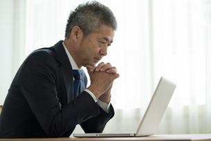 ノートパソコンを見るミドル男性の写真素材 [FYI02069865]
