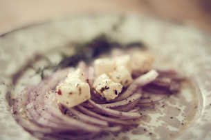 紫タマネギとチーズのサラダの写真素材 [FYI02069988]