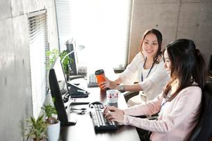 オフィスでデスクに座りPCで仕事する2人の女性の写真素材 [FYI02069995]