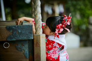お参りをする七五三和装の女の子の写真素材 [FYI02071273]
