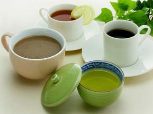 緑茶とココアと珈琲と紅茶の写真素材 [FYI02074168]