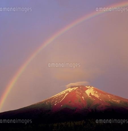 富士吉田市滝沢林道より虹と赤富士の写真素材 [FYI02074803]