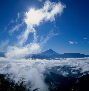 櫛形林道からの雲海と太陽の富士山の写真素材 [FYI02076061]