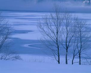 仁科三湖・青木湖の雪紋の写真素材 [FYI02076375]