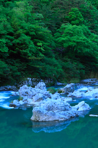 飛騨川と新緑の写真素材 [FYI02076552]