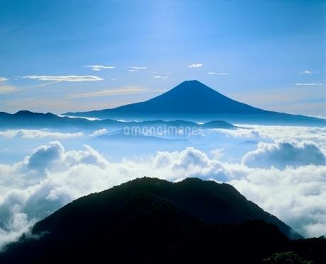 バラの段より山並みと雲海の富士山の写真素材 [FYI02076601]