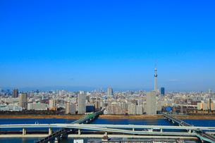 東京スカイツリーと首都高速道路、荒川、中川の写真素材 [FYI02078282]
