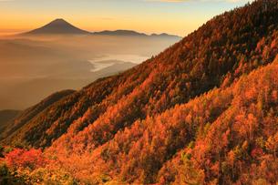 櫛形山より朝日差す紅葉と富士山の写真素材 [FYI02078596]