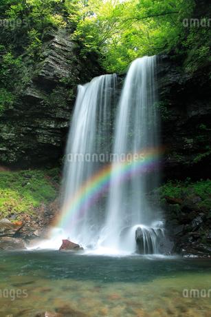 新緑の夫婦滝と虹の写真素材 [FYI02078622]
