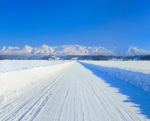 雪の道と十勝岳連峰の写真素材 [FYI02079148]