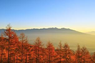 入笠山の紅葉と八ケ岳の写真素材 [FYI02079370]