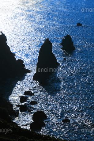 丹後半島 屏風岩の夕景の写真素材 [FYI02079595]