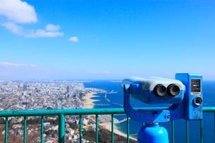 鉢伏山展望台の双眼鏡と神戸市街の写真素材 [FYI02080104]