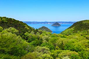 新緑の五色台から望む瀬戸内海 小槌島と大槌島の写真素材 [FYI02080308]