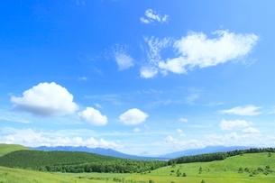 池のくるみより緑の山並み(八ヶ岳・富士山・南アルプス)の写真素材 [FYI02081955]