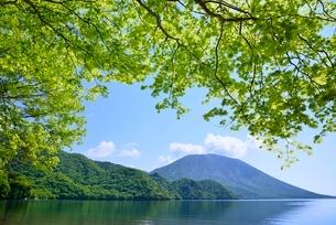 新緑の中禅寺湖と男体山の写真素材 [FYI02082664]