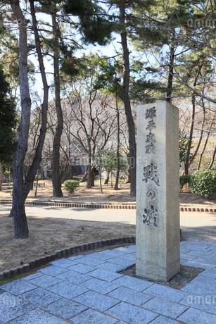 須磨・一ノ谷 戦の浜の碑の写真素材 [FYI02082718]