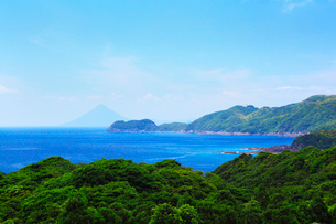 大隅半島から望む鹿児島湾 長崎鼻と開聞岳(薩摩富士)の写真素材 [FYI02083227]