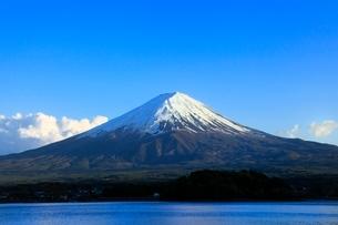 新緑の河口湖より富士山の写真素材 [FYI02085033]