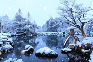 雪降る兼六園 ことじ灯籠の写真素材 [FYI02085438]