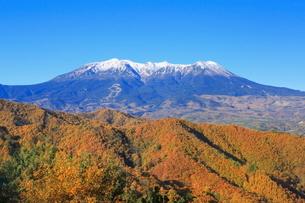 地蔵峠から望む紅葉の御岳山の写真素材 [FYI02085736]
