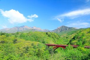 清里高原 新緑の東沢橋と八ヶ岳の写真素材 [FYI02085749]