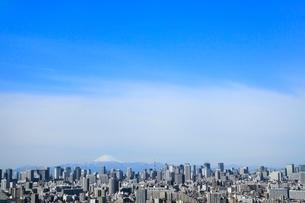 東京タワーとビル群に富士山の写真素材 [FYI02086920]