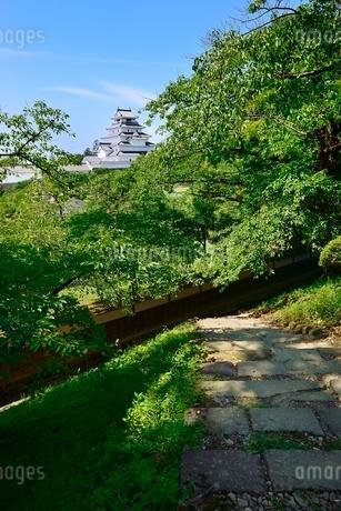 鶴ヶ城 天守閣と緑の木々に石敷きの道の写真素材 [FYI02088198]