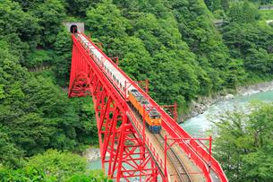 黒部峡谷 新山彦橋とトロッコ電車の写真素材 [FYI02088369]