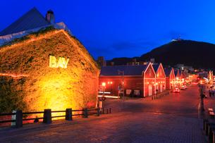 金森赤れんが倉庫群のライトアップ夜景と函館山の写真素材 [FYI02088922]