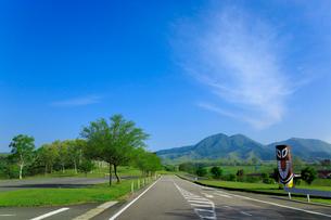 新緑の蒜山高原 蒜山三座とスイトンに道路の写真素材 [FYI02088999]