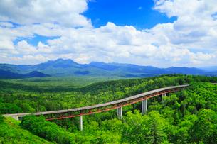 三国峠から望む新緑の山並と松見大橋の写真素材 [FYI02089085]