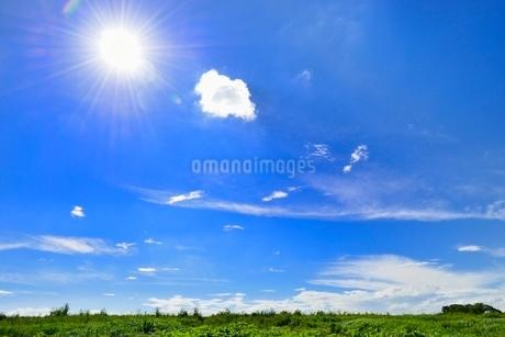 緑の土手と青空に雲の写真素材 [FYI02089689]