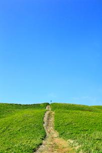 美ヶ原高原 緑の草原と一本の道の写真素材 [FYI02089932]